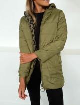 Long manteau à capuche réversible zipper up