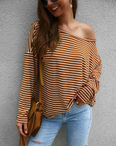 Stripes Long Sleeve Loose Shirt mit Slash Shoulder