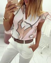 Bluse mit V-Ausschnitt und Rüschenbündchen