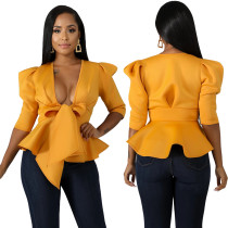 Sexy Plungging Peplum Top with Pop Sleeves