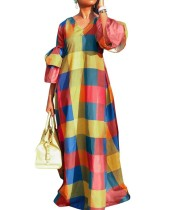 Fırfır Manşetli Renkli V Yaka Uzun Elbise