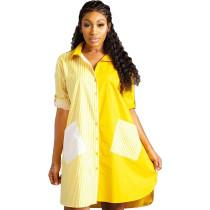 Gelbe Streifen hoch niedrig lose Bluse mit Taschen