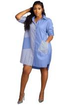 Blaue Streifen hoch niedrig lose Bluse mit Taschen