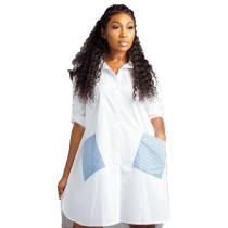 Weiße High Low Loose Bluse mit Kontrasttaschen