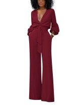 Sexy Deep-V Long Sleeve Formal Jumpsuit with Belt