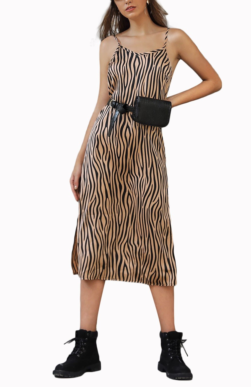 Bretelles En Gros Fente Longue Robe Zebre Global Lover