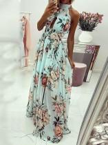 Floral Green Halfter Schlitz langes Kleid