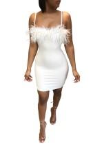 Sexy Träger Fell Club Kleid