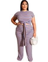 Camisa y pantalones con nudo de rayas de talla grande