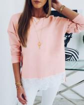 Pinkes O-Neck Langarmhemd mit Spitzensaum
