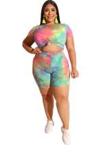 Plus Size Buntes Print Shirt und Shorts