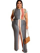Plus Size Stripes Knot Shirt and Pants