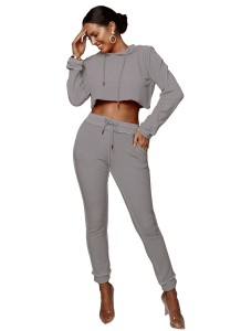 Women Two Piece Solid Color Long Sleeve Hoody Top and Pants Set