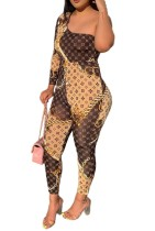 Women Sexy One Shoulder Printed Bodycon Jumpsuits