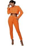 Conjunto de dos piezas con capucha y pantalón de manga larga de color sólido para mujer