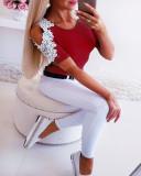 Frauen einfarbig Kurzarm Applique Tops