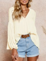 Yellow V-Neck A-line Shirt with Pop Sleeves