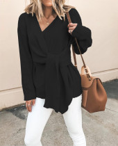 V-Neck Long Sleeve Wrapped Sweater Top