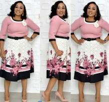 Print Bloem A-lijn fatsoenlijke jurk met riem