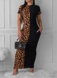 Casual Leopard Short Sleeveless Long Dress