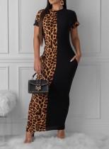 Casual Leopard Kısa Kolsuz Uzun Elbise