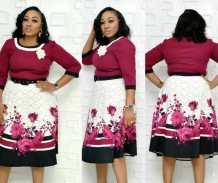 Print Flower A-line Decent Dress with Belt