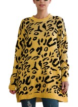 O-Neck Loose Fitting Leopard Long Sweater Tops