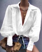 Blusa holgada pura y casual con mangas pop