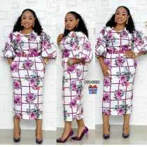 Robe mi-longue à fleurs africaine avec manches pop