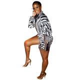 Conjunto de blusa y pantalones cortos de manga larga con estampado de cebra