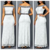 Vestido largo de encaje blanco con hombros descubiertos