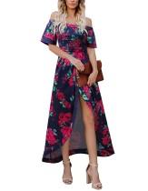 Длинное платье с разрезом и открытыми плечами
