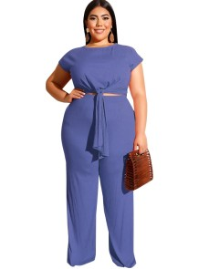 Plus Size Knot Crop Top und Hose Set
