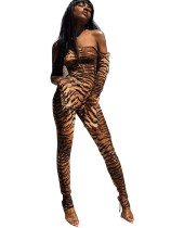 Seksi Kapalı Omuz Zebra Bodycon Tulum