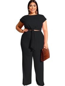 Plus Size Knot Crop Top and Pants Set