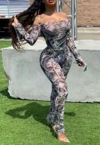 Sexy bodycon jumpsuit met off-shoulder print