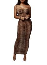 Vestido de tubo largo con tiras sexy de piel de serpiente estampada