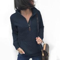 Camisa de otoño de cremallera lisa con cuello alto