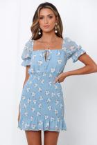 Mini-robe sirène vintage bleu floral