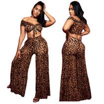 Top e calças de impressão Sexy Leopard Print
