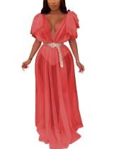 Vestido de malla larga con espalda en forma de V sexy