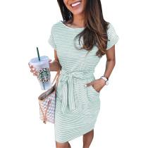 O-Neck Stripes Shirt Dress with Belt