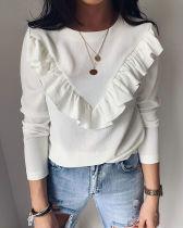 Durchsichtiges Langarmhemd mit O-Ausschnitt und Rüschen