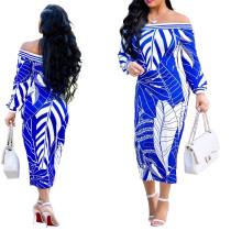 Midi-jurk met witte en blauwe print op de schouder