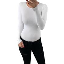 Body sexy de manga larga con cuello en o transparente