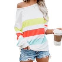 Breites Streifen-buntes langes Hülsen-Shirt