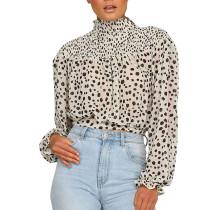 Camicetta manica lunga stampa leopardo collo alto