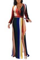Vestido largo envuelto de manga larga rayas coloridas