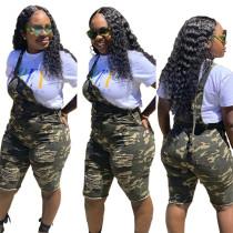 Print Camou Ripped Bib Shorts