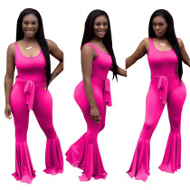 Plain Solid Sleeveless Bell Jumpsuit with Belt